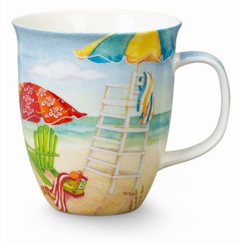 Beach Umbrellas and Adirondack Chairs Coffee Latte Tea Harbor Mug
