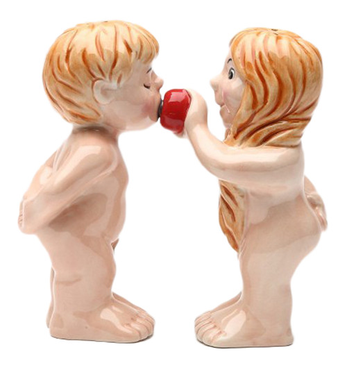 Adam and Eve Sharing Apple Garden of Eden Magnetic Salt and Pepper Shaker Set