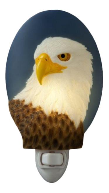 Patriotic Bald Eagle Hand Painted Night Light
