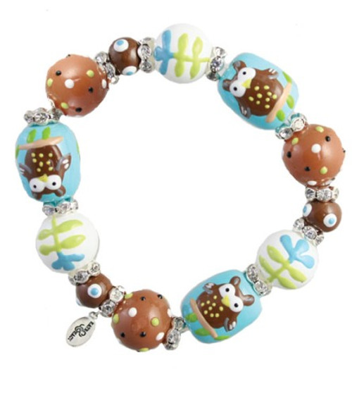 Whooos A Cute Little Owl Rhinestone Glass Beaded Kate and Macy Stretch Bracelet