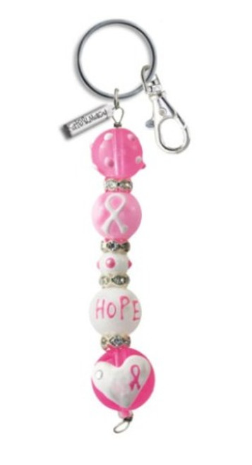 Think Pink Breast Cancer Rhinestone Glass Beaded Kate and Macy Keychain