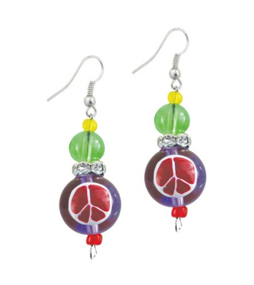 Peace Sign and Love Hearts Rhinestone Glass Beaded Kate and Macy Earrings