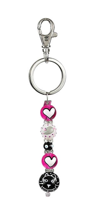 Here Kitty Kitty Rhinestone Glass Beaded Kate and Macy Keychain Clementine