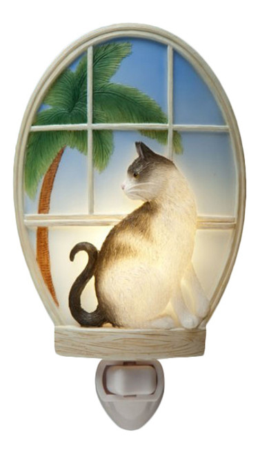Kitty Cat Gazing Out A Tropical Window Night Light