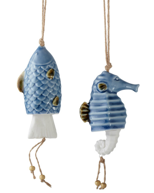 Blue Seahorse and Fish Bell Chimes Set of 2 Ceramic