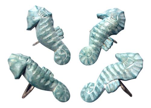 Aqua Seahorse Napkin Rings Hand Carved Wood Set of 4