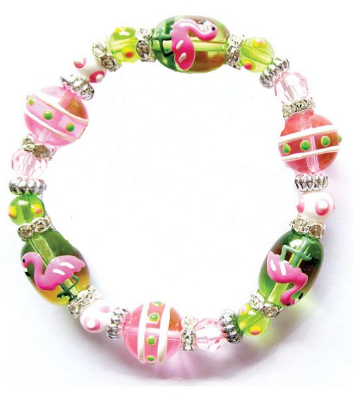 Flamingo Dahling Tropical Rhinestone Glass Beaded Kate and Macy Stretch Bracelet