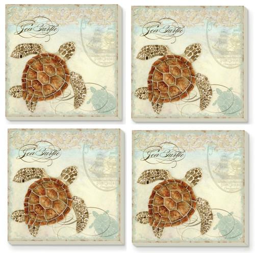 Coastal Nautical Sea Turtles Absorbent Coasters Set of 4
