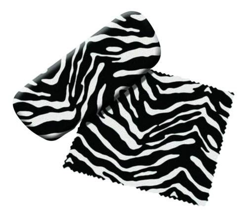 Zebra Stripes Reading Glasses Case and Lens Cloth Black and White
