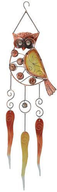 Beautiful Woodlands Wise Owl Glass Wind Chimes Garden Decor