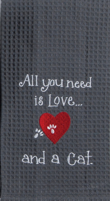 All You Need is Love and A Cat Embroidered Waffle Kitchen Dish Towel
