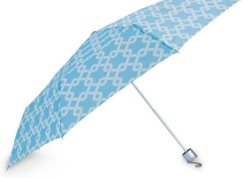 Coastal Blue with White Links Compact Folding Umbrella