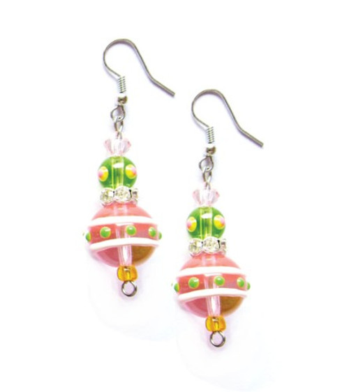 Flamingo Dahling Tropical Rhinestone Glass Beaded Kate and Macy Earrings