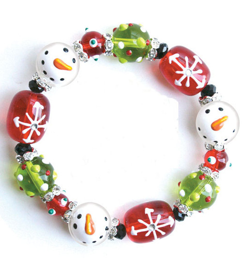 Sparkling Snowman Winter Rhinestone Glass Beaded Kate and Macy Stretch Bracelet