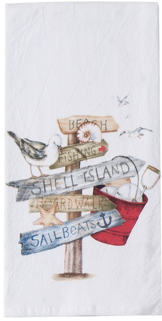 Beach Signs Shell Island Boardwalk Flour Sack 27 Inch Kitchen Dish Towel Kay Dee