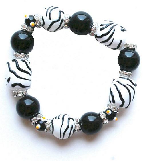 Zebra Animal Print Rhinestone Glass Beaded Kate and Macy Stretch Bracelet