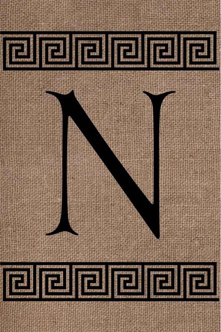 Burlap Greek Key Monogram N Double Sided 12 x 18 Inch Garden Flag Custom Decor