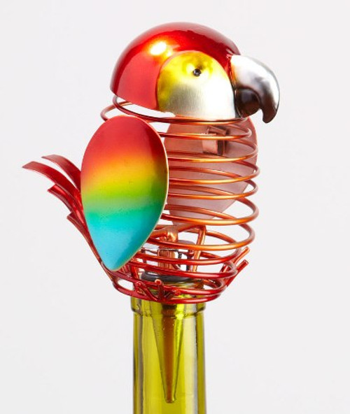 Tropical Red Macaw Parrot Spring  Metal Wine Bottle Topper