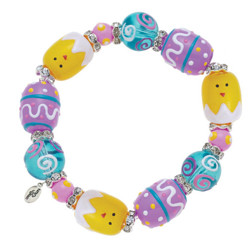 Easter Chick Rhinestone Glass Beaded Kate and Macy Stretch Bracelet Clementine