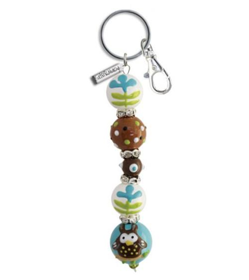 Whooos A Cute Little Owl Rhinestone Glass Beaded Kate and Macy Keychain