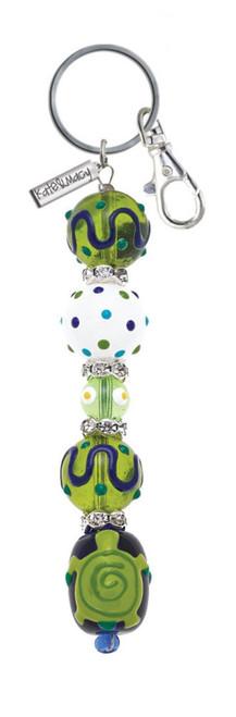 Baby Sea Turtle Rhinestone Glass Beaded Kate and Macy Keychain Clementine