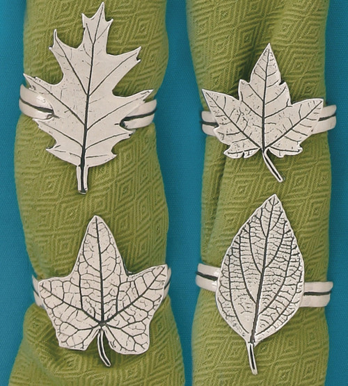 Assorted Shaped Leaves Pewter Napkin Rings Set of 4 Oak Maple Fall Foilage