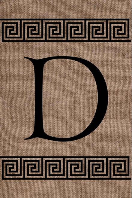 Burlap Greek Key Monogram D Double Sided 12 x 18 Inch Garden Flag Custom Decor