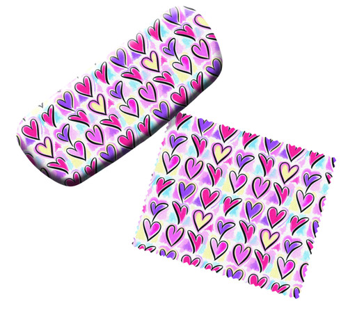 Red Pink Purple Love Hearts Eyeglass Reading Glasses Case and Lens Cloth