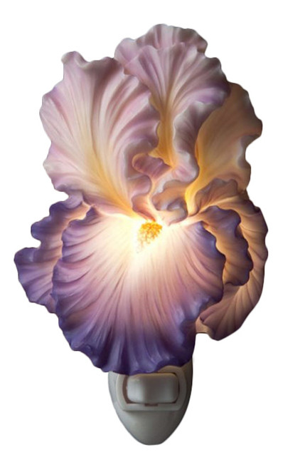 Purple Bearded Iris Floral Night Light Bonded Marble