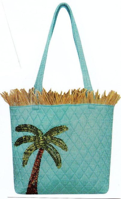 Raffia Ocean Blue Palm Tree Sequin Tote Handbag Bag