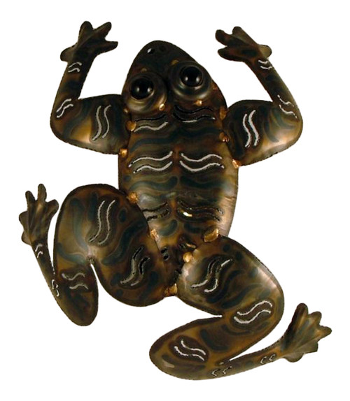 Hand Crafted Frog Light Wall Sconce 14 Inch Metal Decor