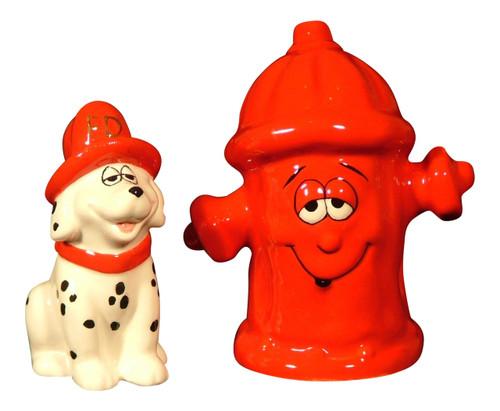 Dalmatian Firehouse Dog Red Fire Hydrant Salt and Pepper Shaker Set Ceramic