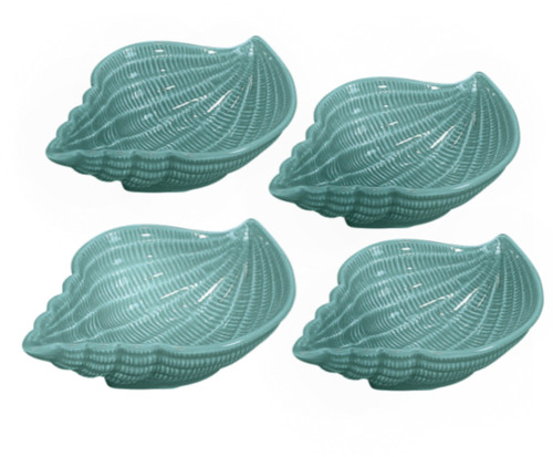 Blue Nautical Turquoise Conch Shell 4.5 Inch Serving Bowls Set of 4 Sadek
