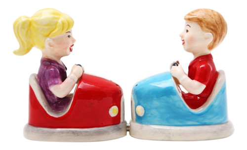 Amusement Park Bumper Cars Magnetic Salt and Pepper Shaker Set