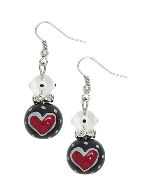 True Love Red Hearts Rhinestone Glass Beaded Kate and Macy Pierced Earrings