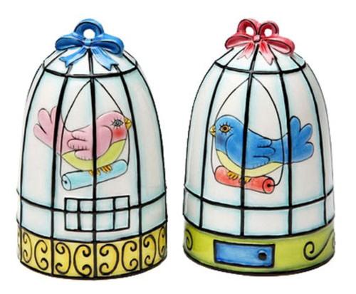 Bird Birdcage Salt and Pepper Shakers Set