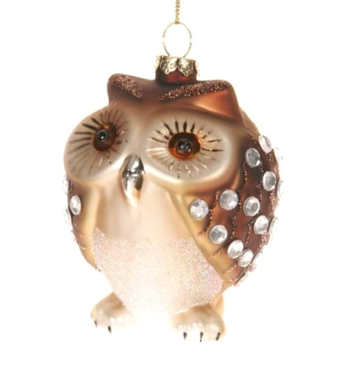 Adorable Little Brown Owl with Jewels Christmas Holiday Ornament
