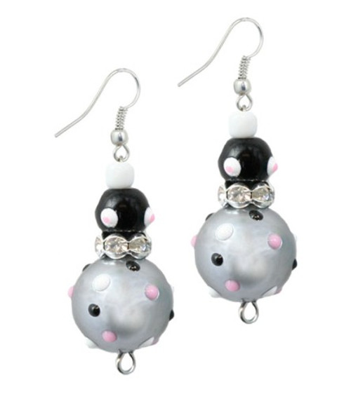 Cat and Mouse Rhinestone Glass Beaded Kate and Macy Earrings