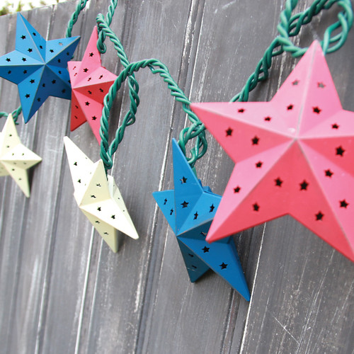 Red White and Blue Barn Star Patriotic Electric String Lights 10 Count Metal