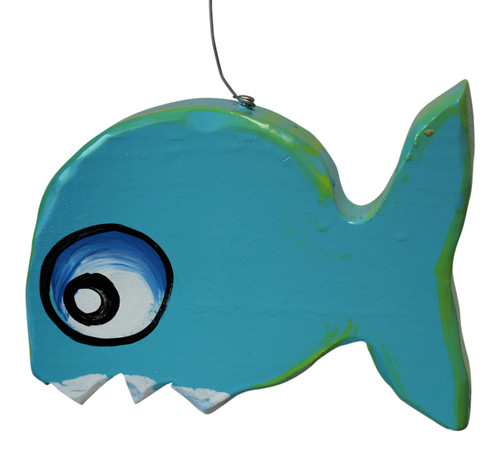 Blue Fish With Teeth Fun Hanging Decor Hand Painted Wood 6.5 Inches