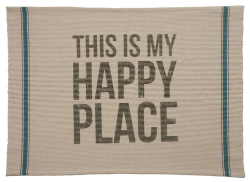 Beach Time My Happy Place Reversible Accent Throw Rug Cotton 36 Inches