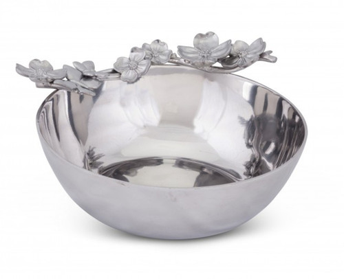 Dogwood and Butterfly Round Serving Bowl Polished Aluminum 10.5 Inches