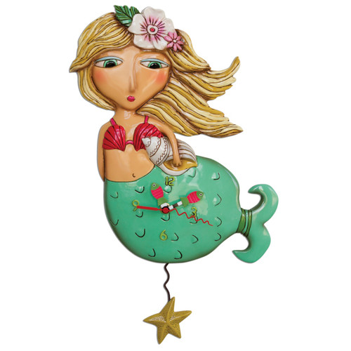 Blonde Haired Shelly Mermaid Wall Clock Battery Operated with Starfish Pendulum