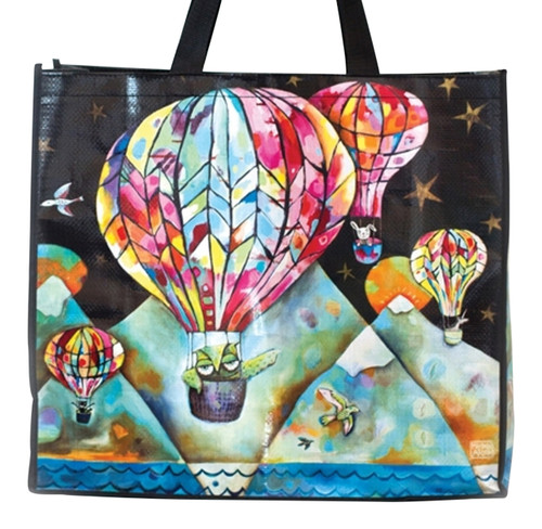 Hot Air Balloons Flying Up and Away Shopping Bag 17.75 Inches