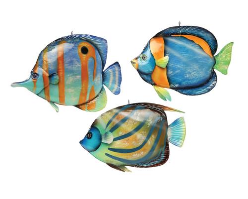Capiz Shells Bermuda Fish Christmas Holiday Ornaments Set of 3 8 Inches