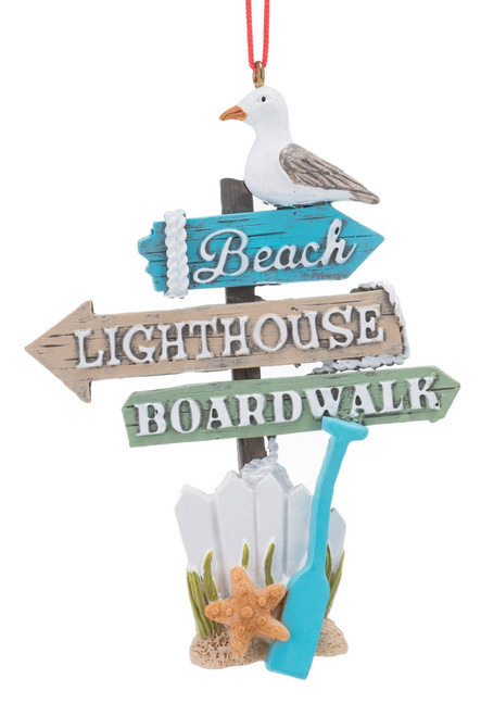 Beach Lighthouse Boardwalk Directional Arrows Christmas Holiday Ornament