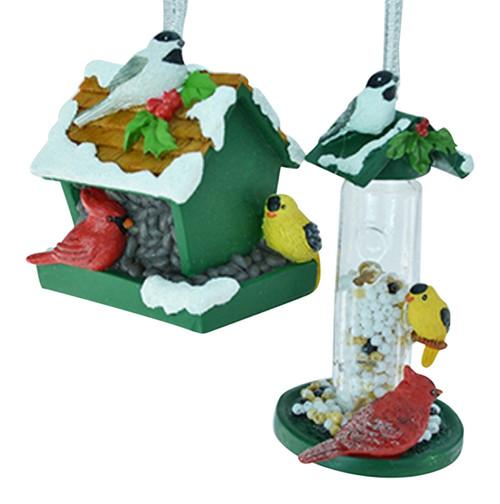 Bird Feeder and Birdhouse Christmas Holiday Ornaments Set of 2