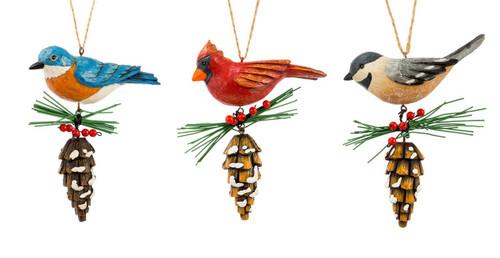 Bluebird Cardinal Chickadee Backyard Birds Christmas Holiday Ornaments Set of 3