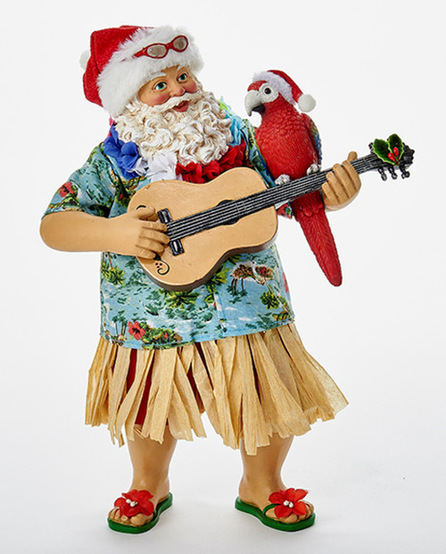 Beach Santa in Hula Skirt Playing Ukulele Tabletop Figurine 11 Inches