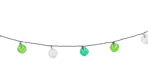 Japanese Floats Electric String Lights Indoor or Outdoor 8.5 Feet Teal and Green